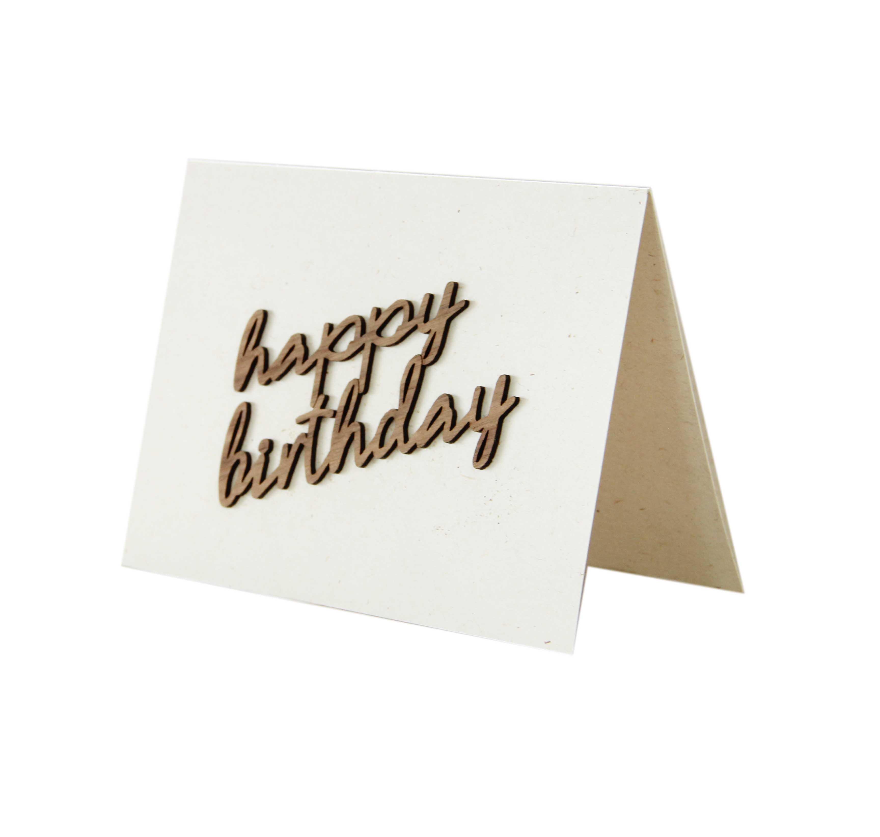 """Holzgrußkarte - Papierkarte mit Schriftzug aus Echtholz in Nuss """"happy birthday"""", Postkarte, Geschenkkarte, Klappkarte, Karte, Geburtstagskarte"""