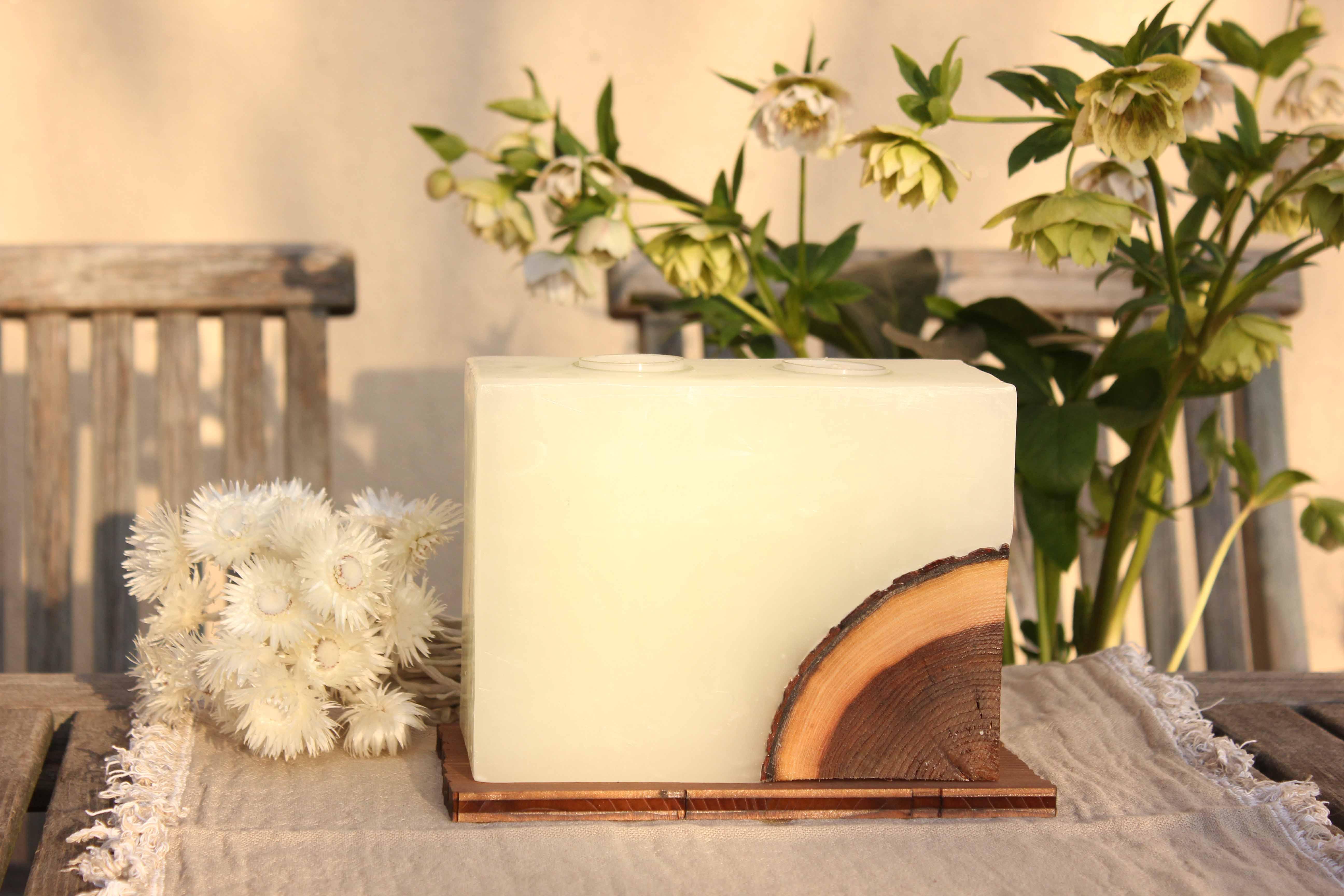 Hochzeitskerze, Geburtstagskerze, Festtagskerze, Holzkerze für feierliche Anlässe, mit Ulmenholz