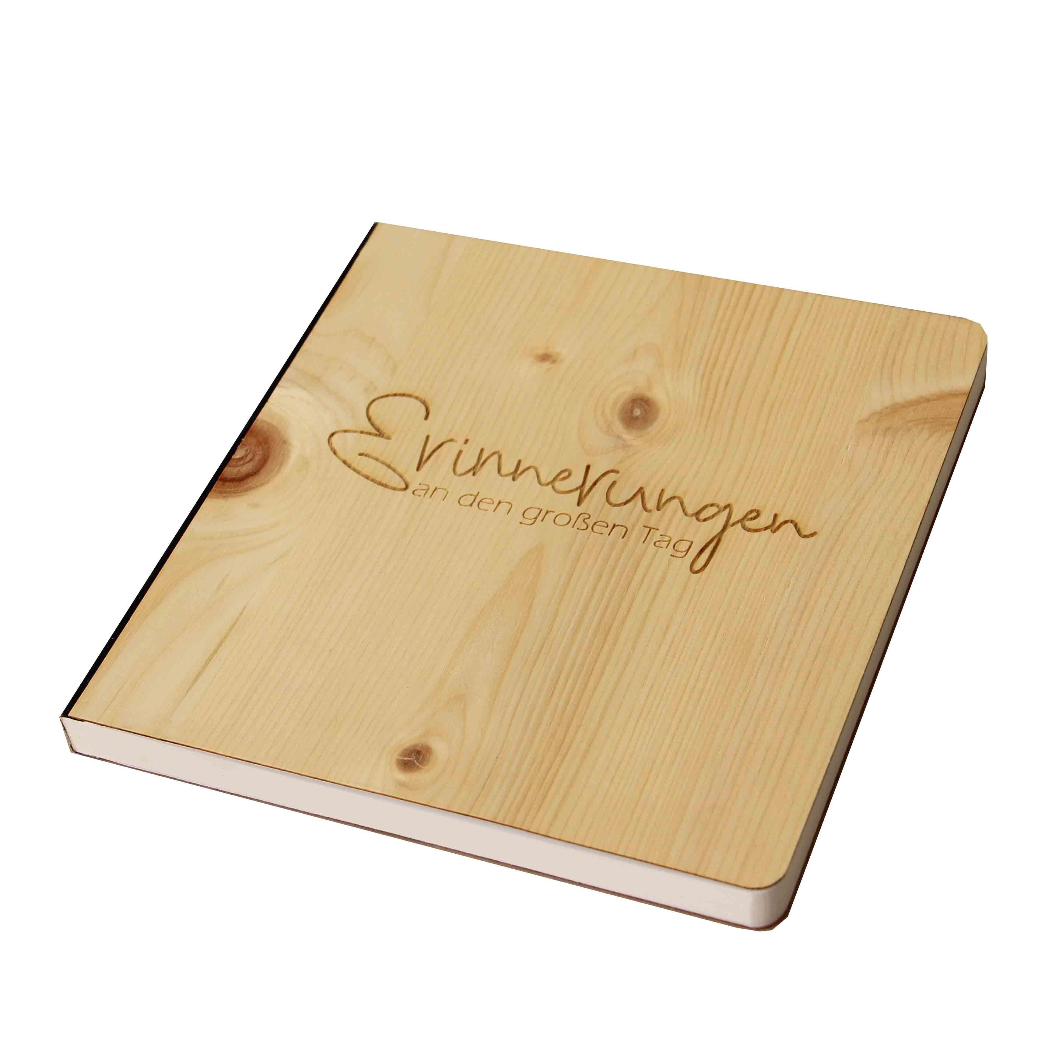 """Holz Gästebuch mit eingraviertem Schriftzug """"Erinnerungen an den großen Tag"""", Fotoalbum und Stammbuch für verschiedene Anlässe, bestehend aus Echtholz, Zirbenholzcover"""