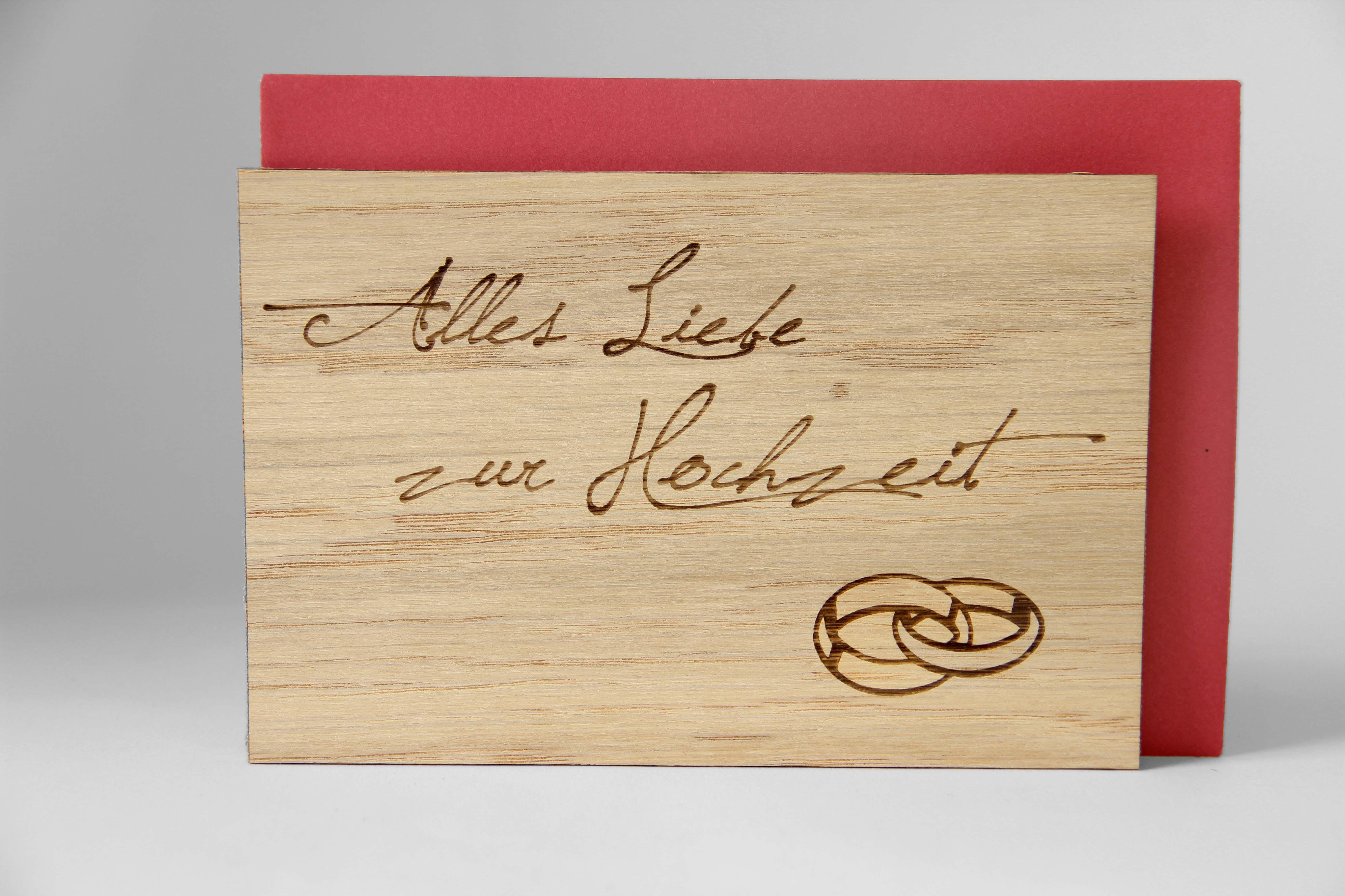 Original Holzgrußkarte - Alles Liebe zur Hochzeit - 100% handmade in Österreich, aus Eichenholz gefertigte Hochzeitskarte, Geschenkkarte, Grußkarte, Klappkarte, Postkarte