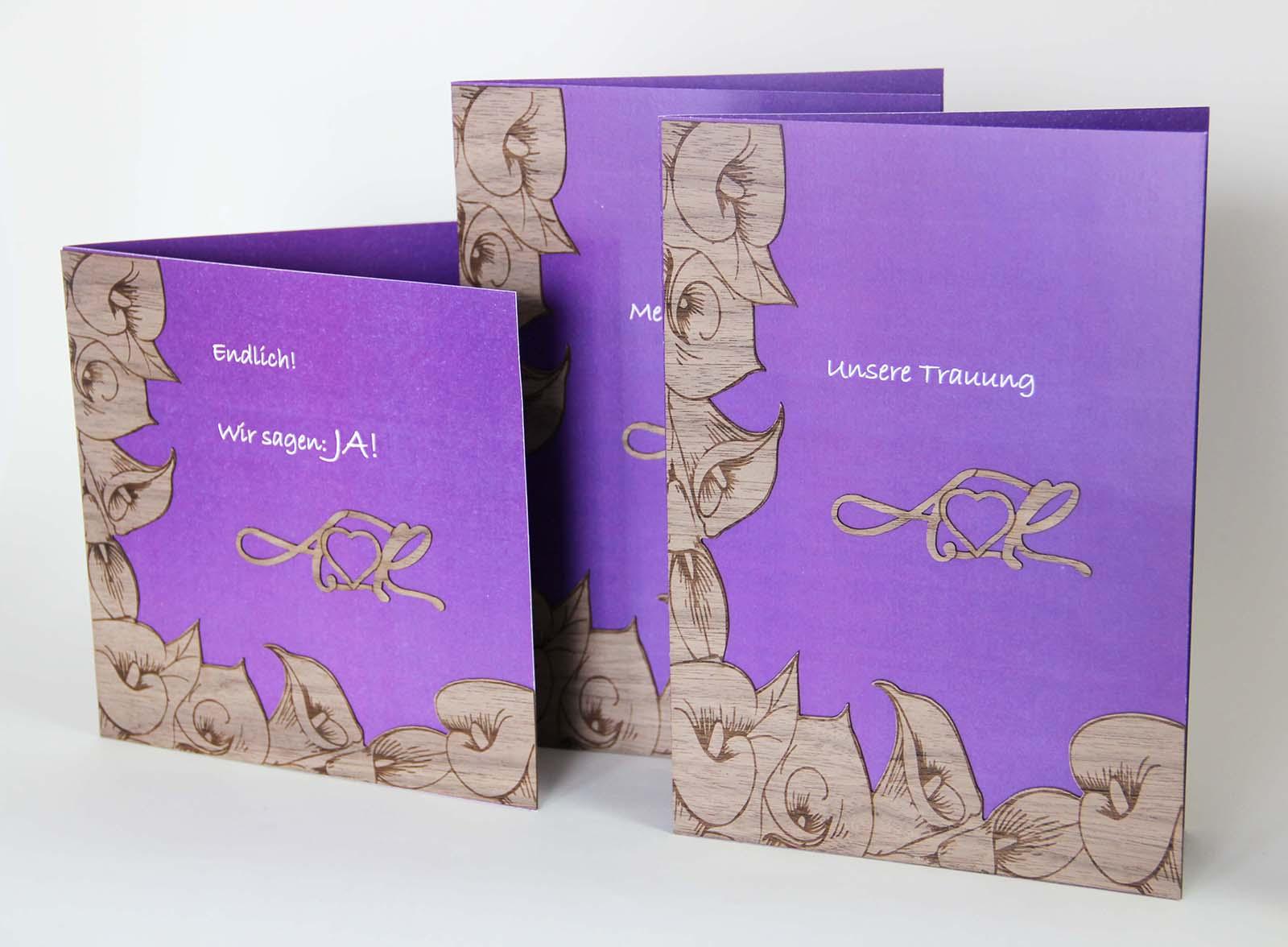 Holzgrusskarte - diverse Karten zur Hochzeit