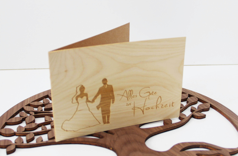 Holzgrusskarte - Glückwunschkarte zur Hochzeit