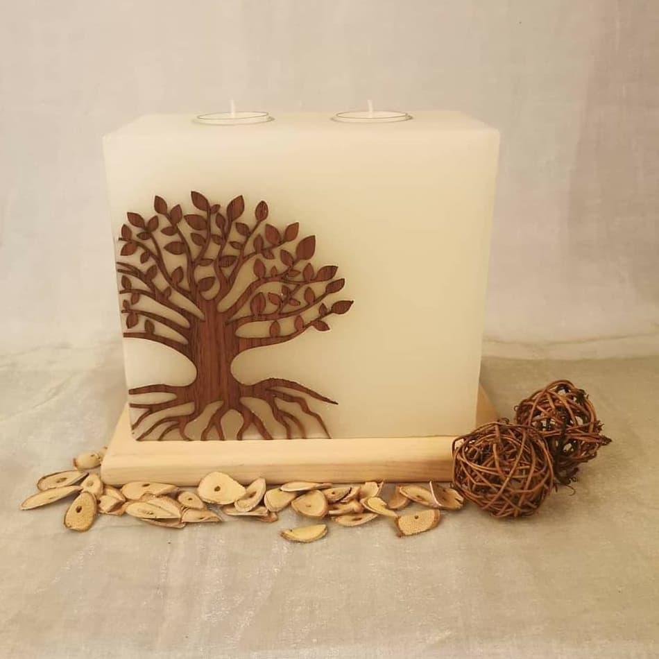 Hochzeitskerze, Geburtstagskerze, Festtagskerze, Holzkerze für feierliche Anlässe, mit dem Baum des Lebens Nussholz