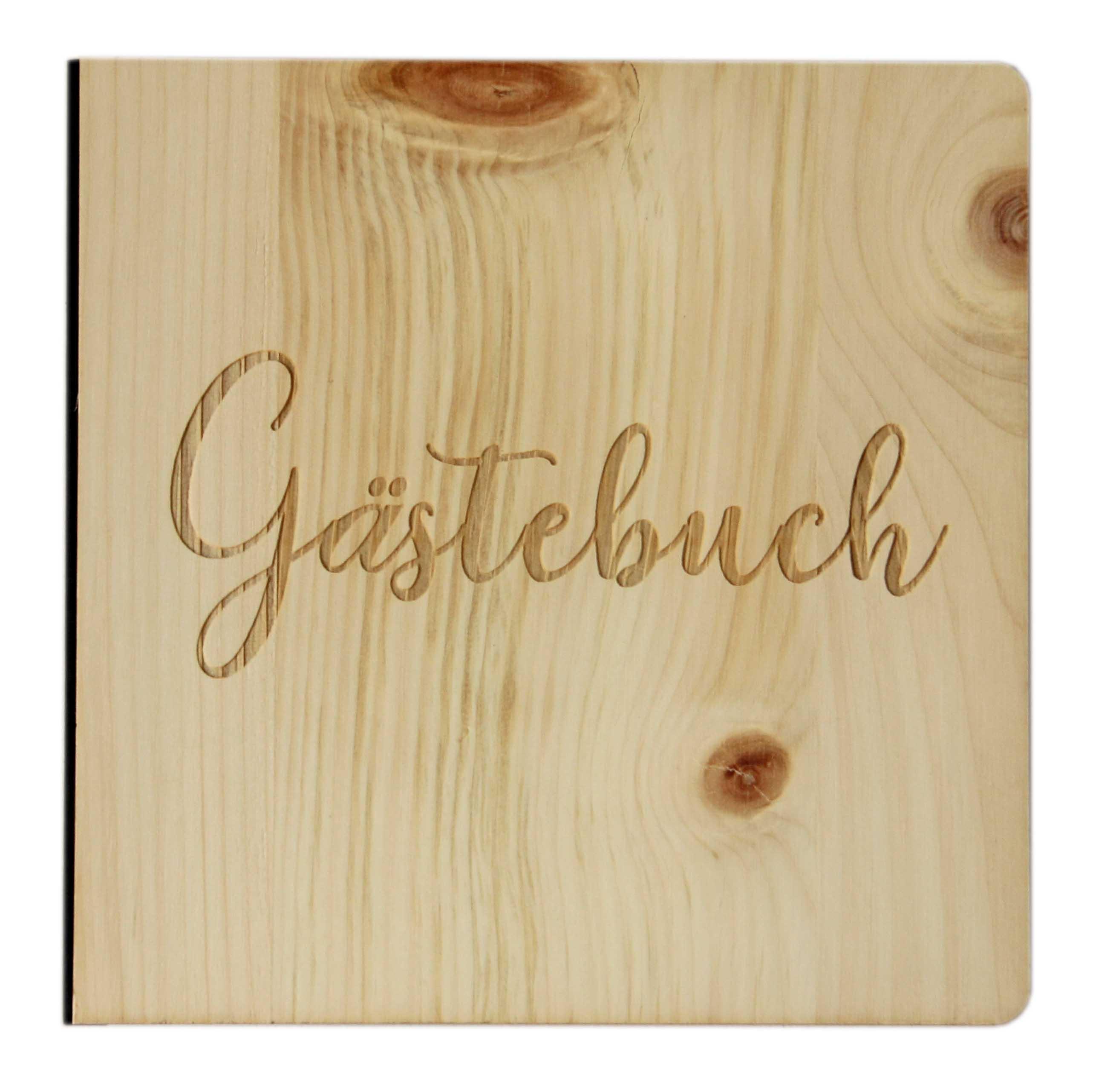 """Holz Gästebuch mit eingraviertem Schriftzug """"Gästebuch"""", Fotoalbum & Stammbuch für verschiedene Anlässe, bestehend aus Echtholz, Zirbenholz Cover"""