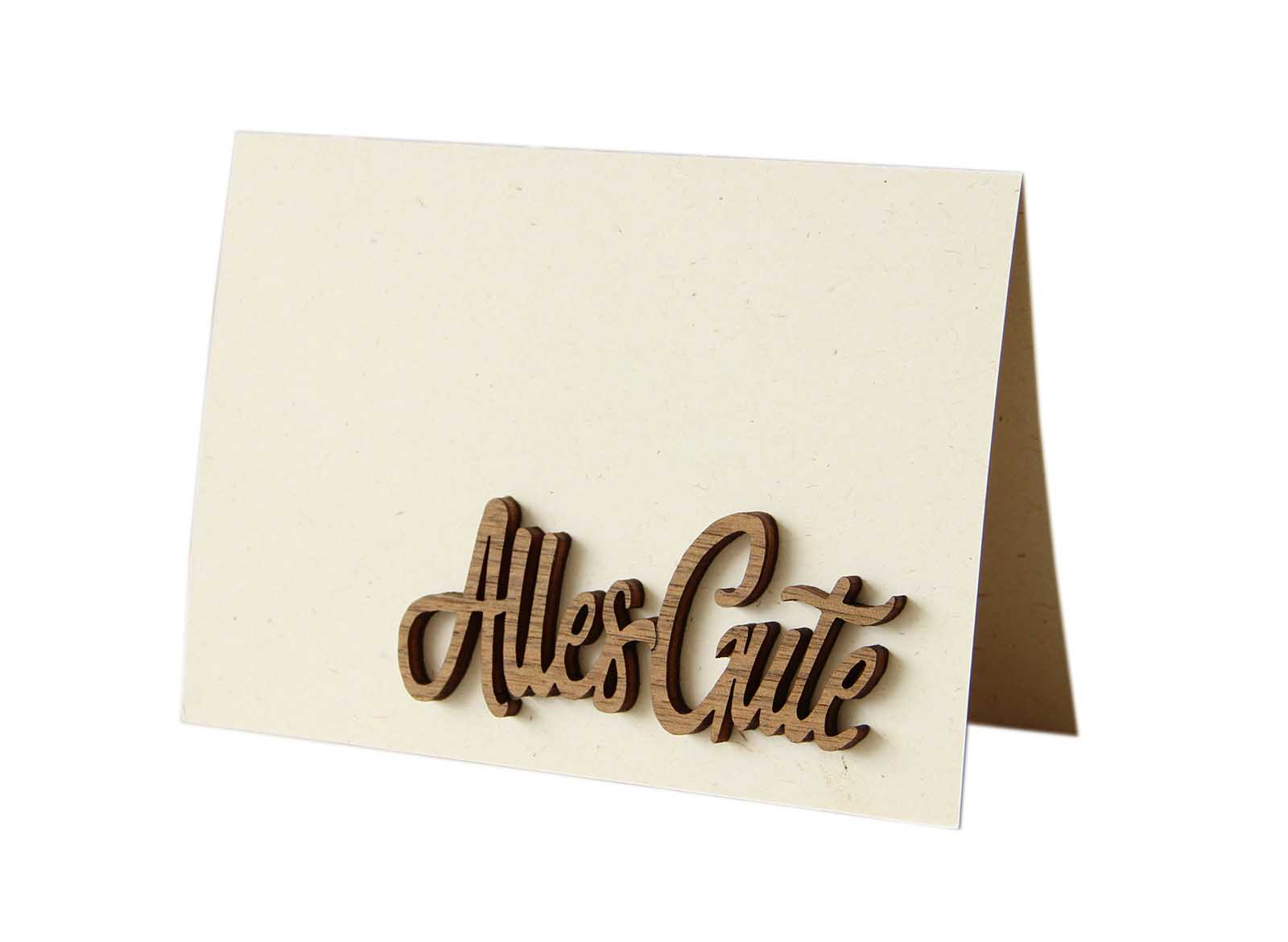"Original Holzgrußkarte - Papierkarte mit Schriftzug aus Echtholz in Nuss ""Alles Gute"", Postkarte, Geschenkkarte, Klappkarte, Karte, Geburtstagskarte"