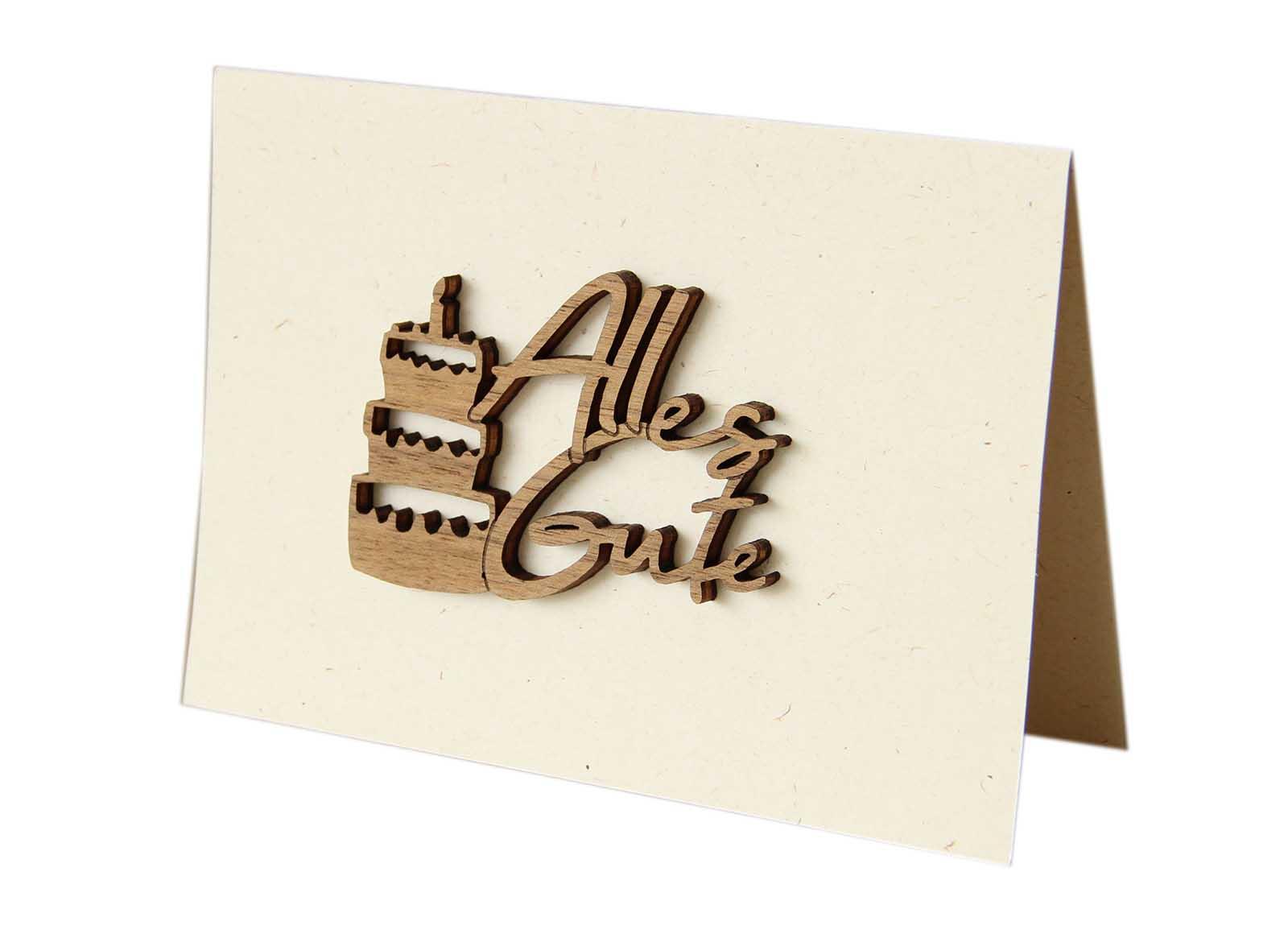 "Holzgrußkarte - Papierkarte mit Schriftzug aus Echtholz in Nuss ""Alles Gute"", inkl. Motiv Torte, Postkarte, Geschenkkarte, Klappkarte, Karte, Geburtstagskarte"