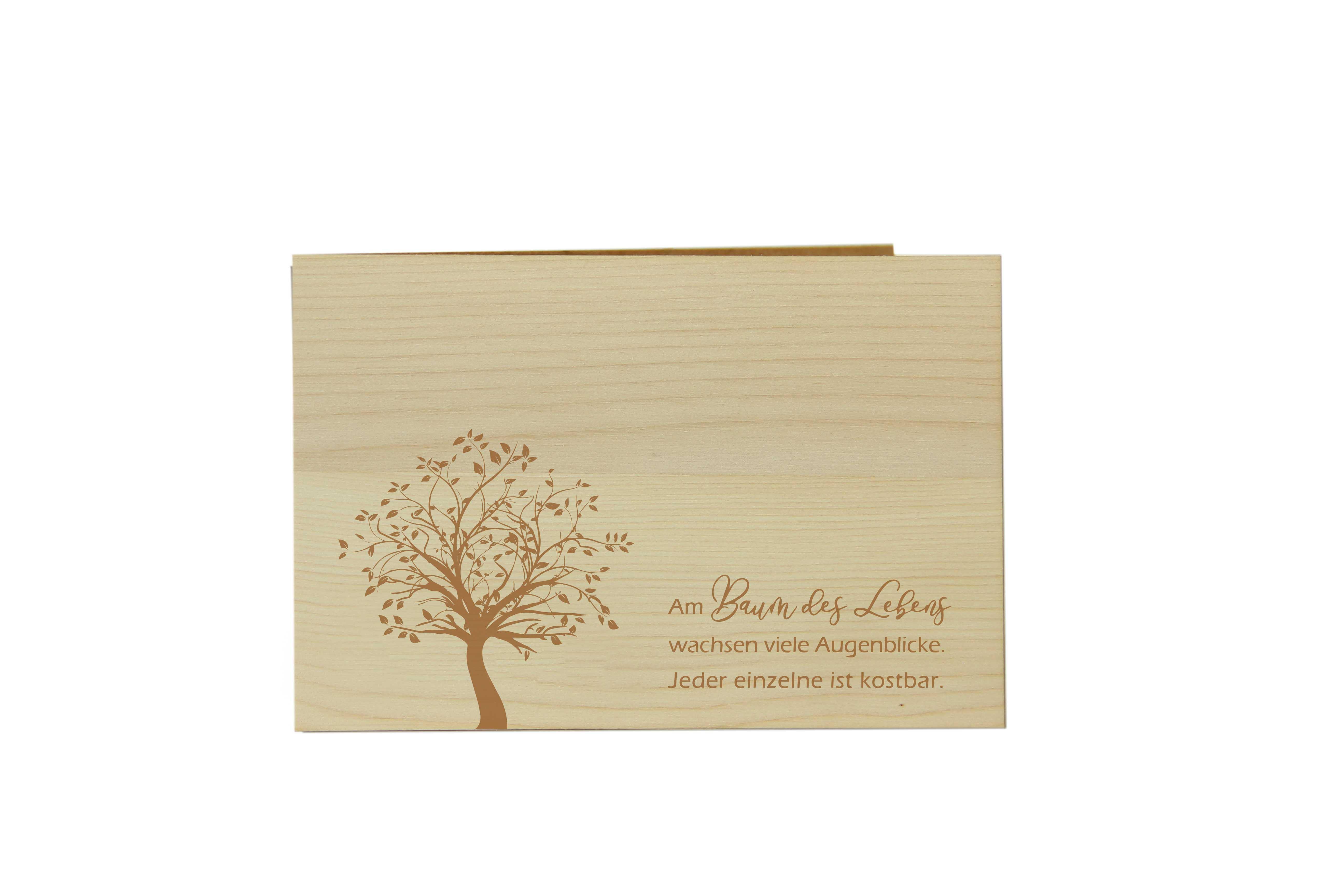 Original Holzgrußkarte - BAUM DES LEBENS - 100% handmade in Österreich, aus Zirbenholz gefertigte Geschenkkarte, Grußkarte, Klappkarte, Postkarte