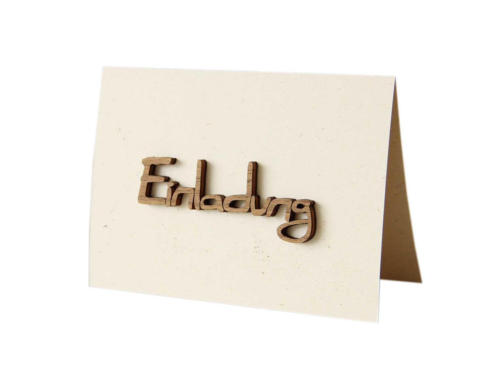 """Holzgrußkarte - Papierkarte mit Schriftzug aus Echtholz in Nuss """"Einladung"""", Postkarte, Geschenkkarte, Klappkarte, Karte, Einladungskarte"""