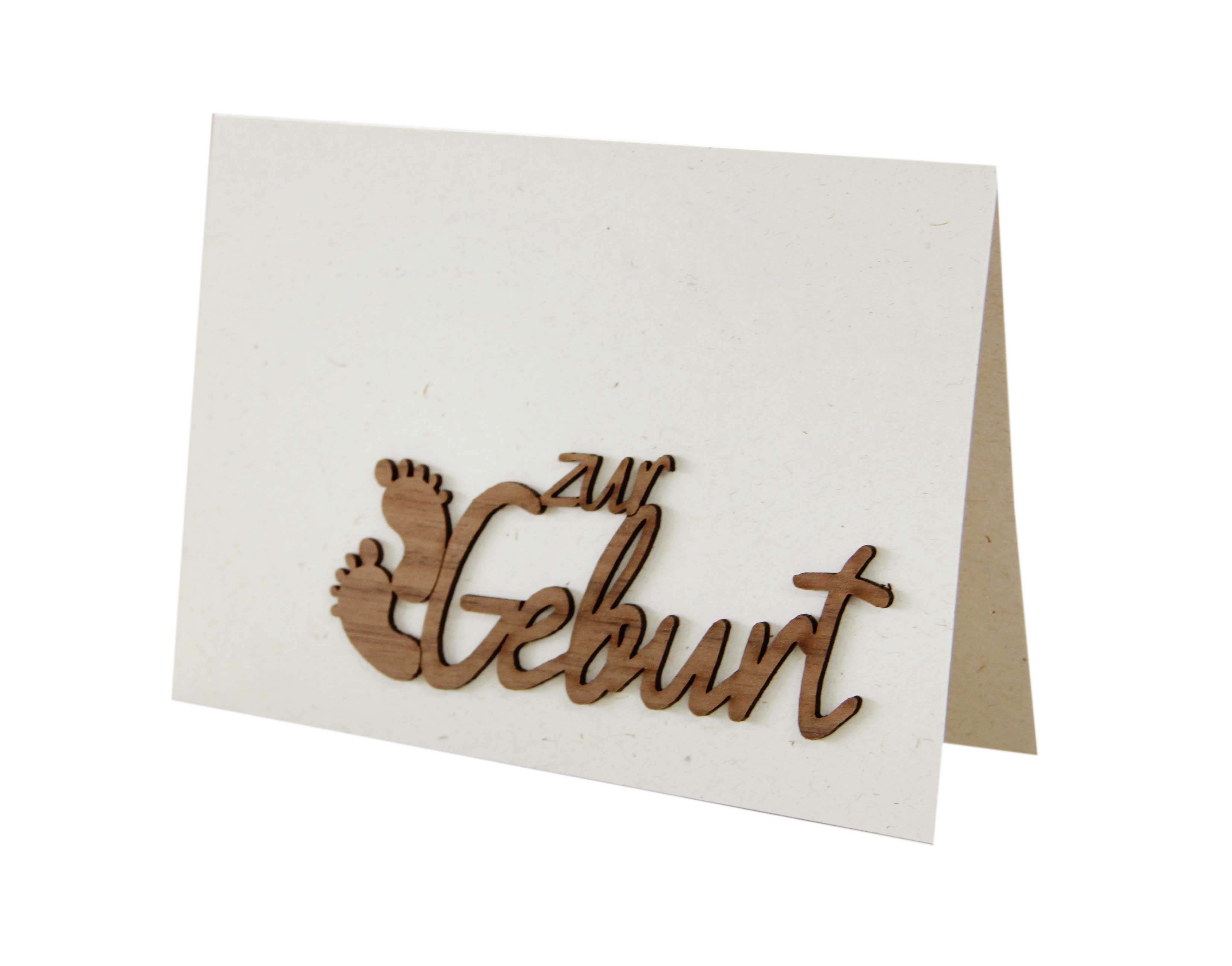 """Original Holzgrußkarte - Papierkarte mit Schriftzug aus Echtholz in Nuss """"zur Geburt"""", Postkarte, Geschenkkarte, Klappkarte, Karte, Geburt"""