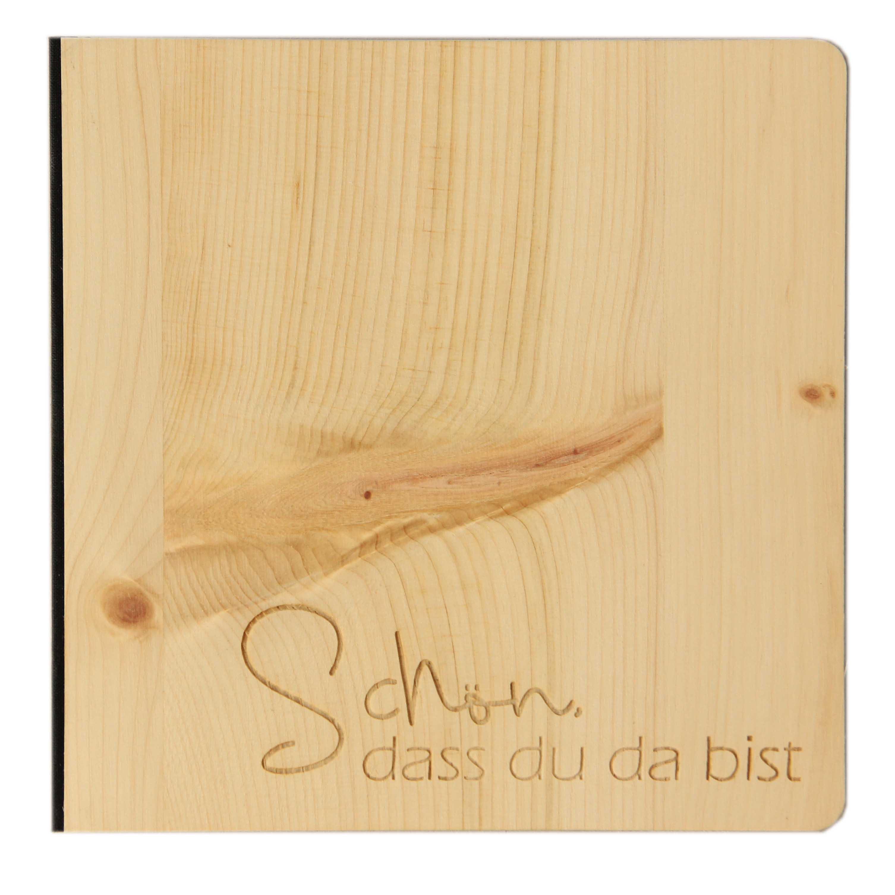 """Holz Gästebuch mit eingraviertem Schriftzug """"Schön, dass du da bist"""", Fotoalbum und Stammbuch für verschiedene Anlässe, bestehend aus Echtholz, Zirbenholzcover"""