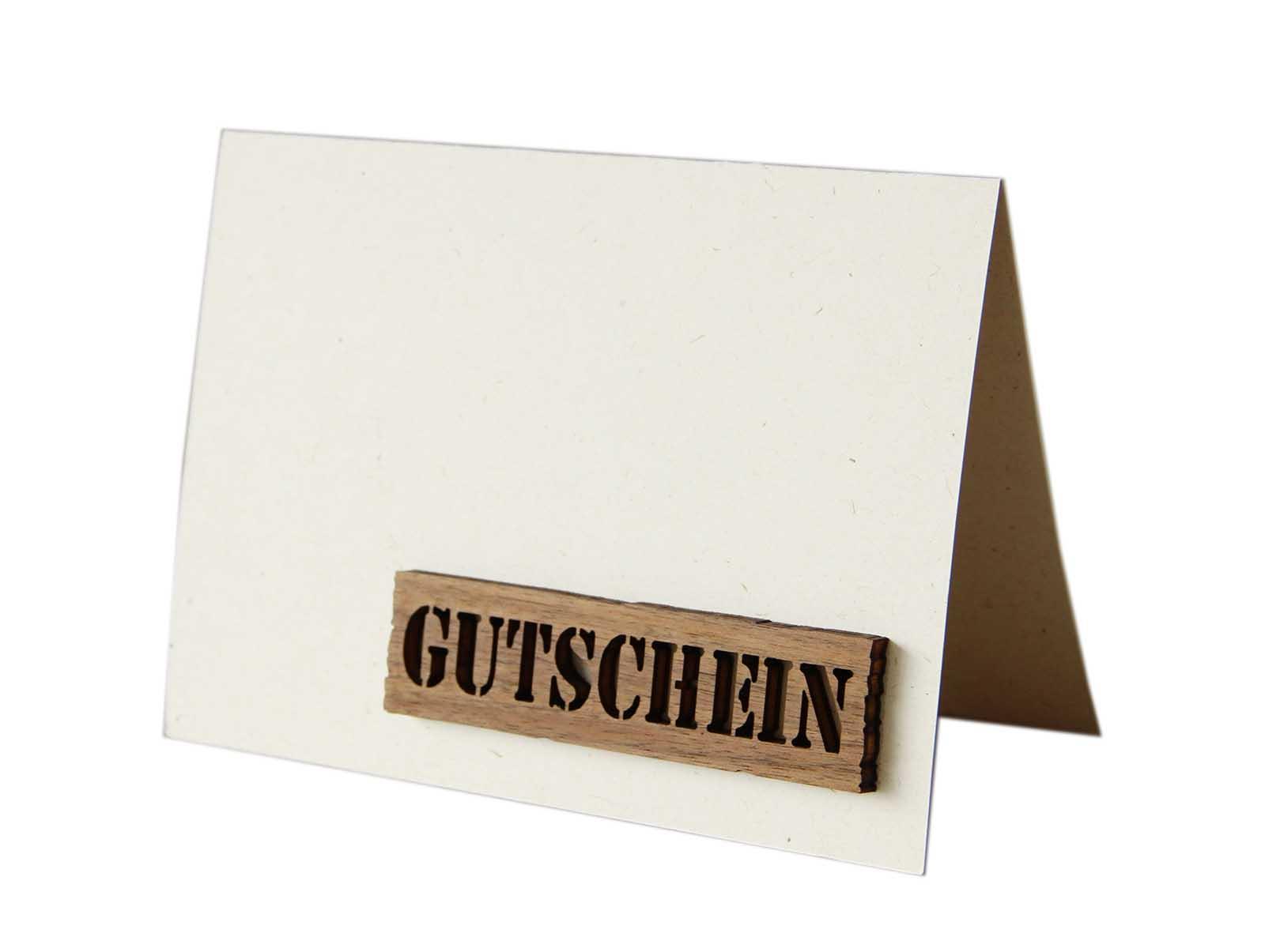 """Original Holzgrußkarte - Papierkarte mit Schriftzug aus Echtholz in Nuss """"Gutschein"""", Schriftzug mit rustikalem Balken, Postkarte, Geschenkkarte, Klappkarte, Karte, Gutscheinkarte"""