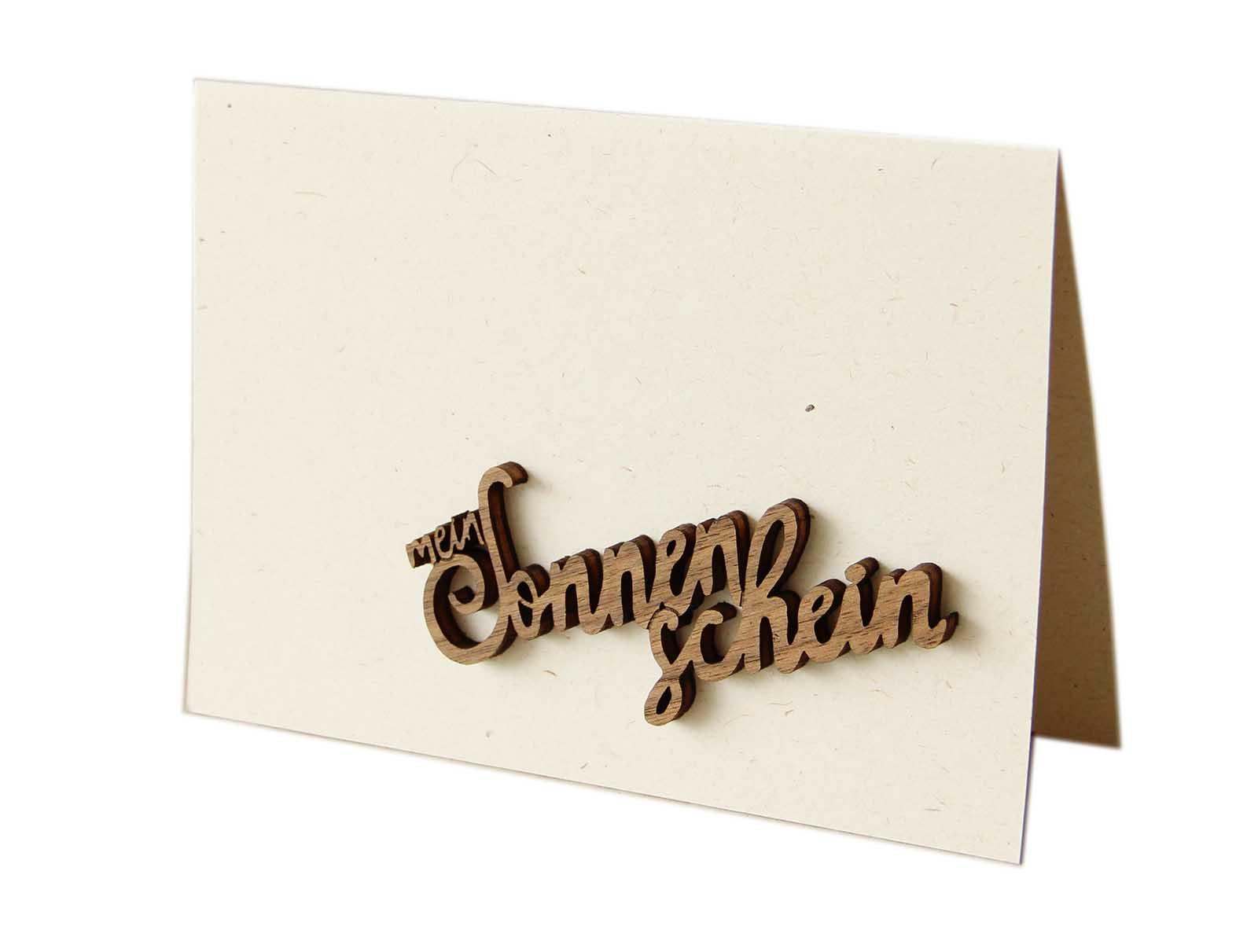 """Holzgrußkarte - Papierkarte mit Schriftzug aus Echtholz in Nuss """"mein Sonnenschein"""", Postkarte, Geschenkkarte, Klappkarte, Karte"""