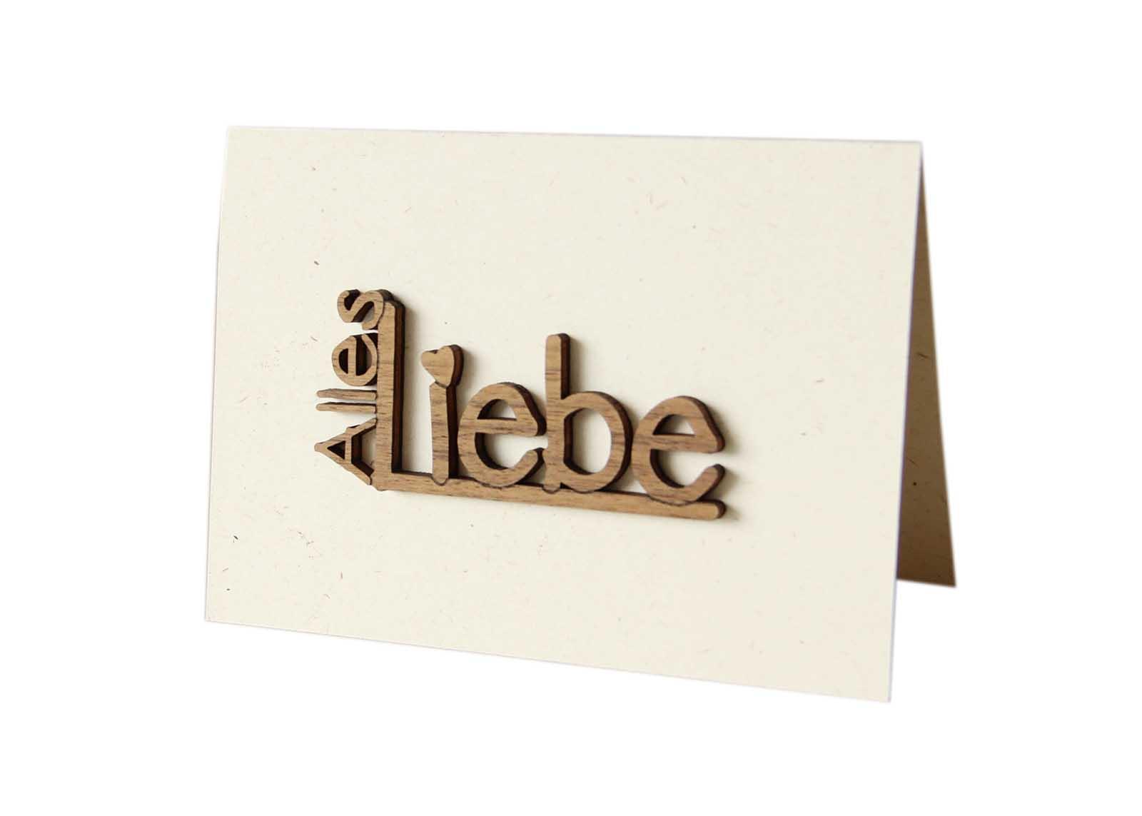 """Holzgrußkarte - Papierkarte mit Schriftzug aus Echtholz in Nuss """"Alles Liebe"""", Postkarte, Geschenkkarte, Klappkarte, Karte, Geburtstagskarte"""