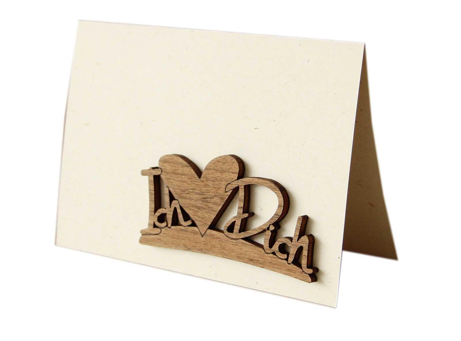 """Original Holzgrußkarte - Papierkarte mit Schriftzug aus Echtholz in Nuss """"Ich ❤ Dich"""", Postkarte, Geschenkkarte, Klappkarte, Karte"""