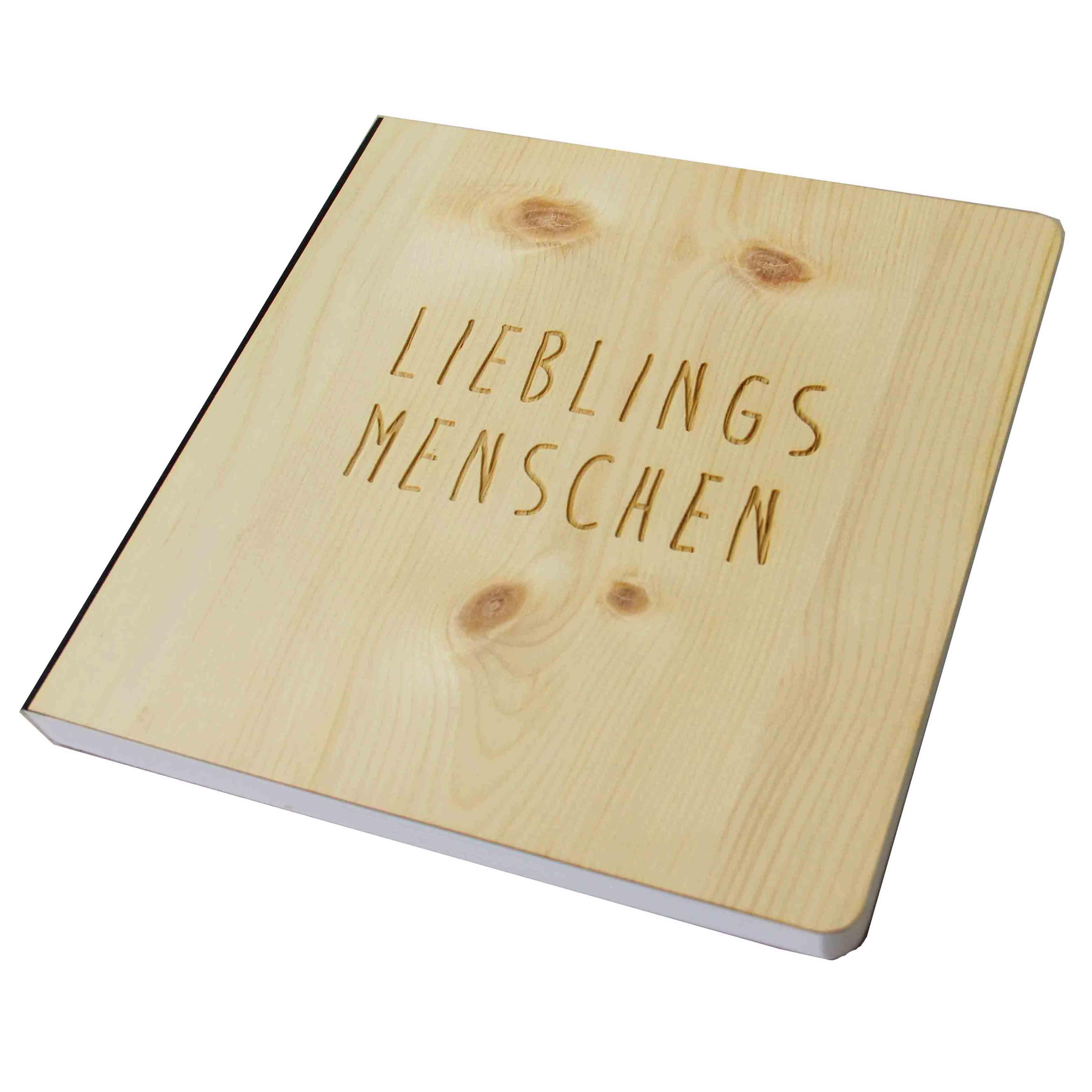 """Holz Gästebuch mit eingraviertem Schriftzug """"Lieblingsmenschen"""", Fotoalbum und Stammbuch für verschiedene Anlässe, bestehend aus Echtholz, Zirbenholzcover"""
