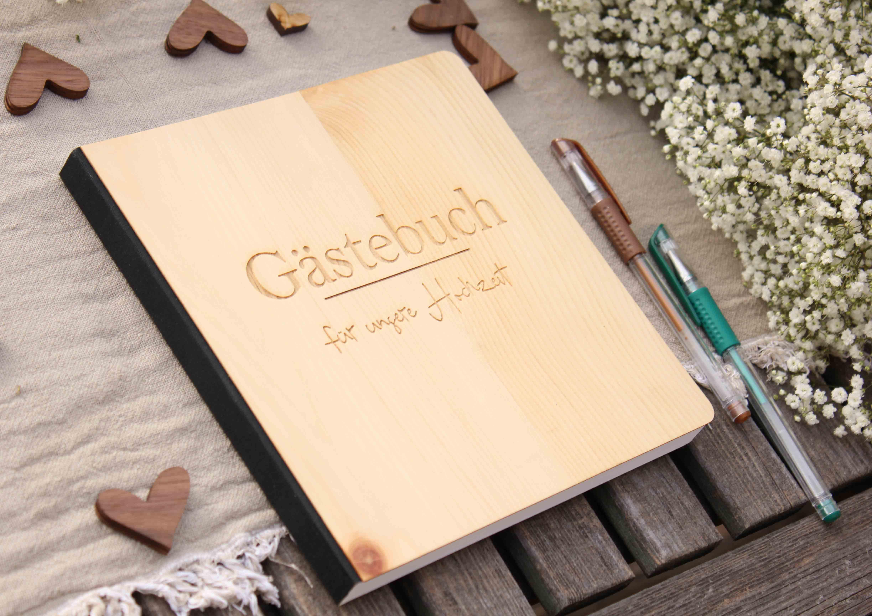 """Holz Gästebuch mit eingraviertem Schriftzug """"Gästebuch für unsere Hochzeit"""", Fotoalbum und Stammbuch für die Hochzeit, bestehend aus Echtholz, Zirbenholzcover"""