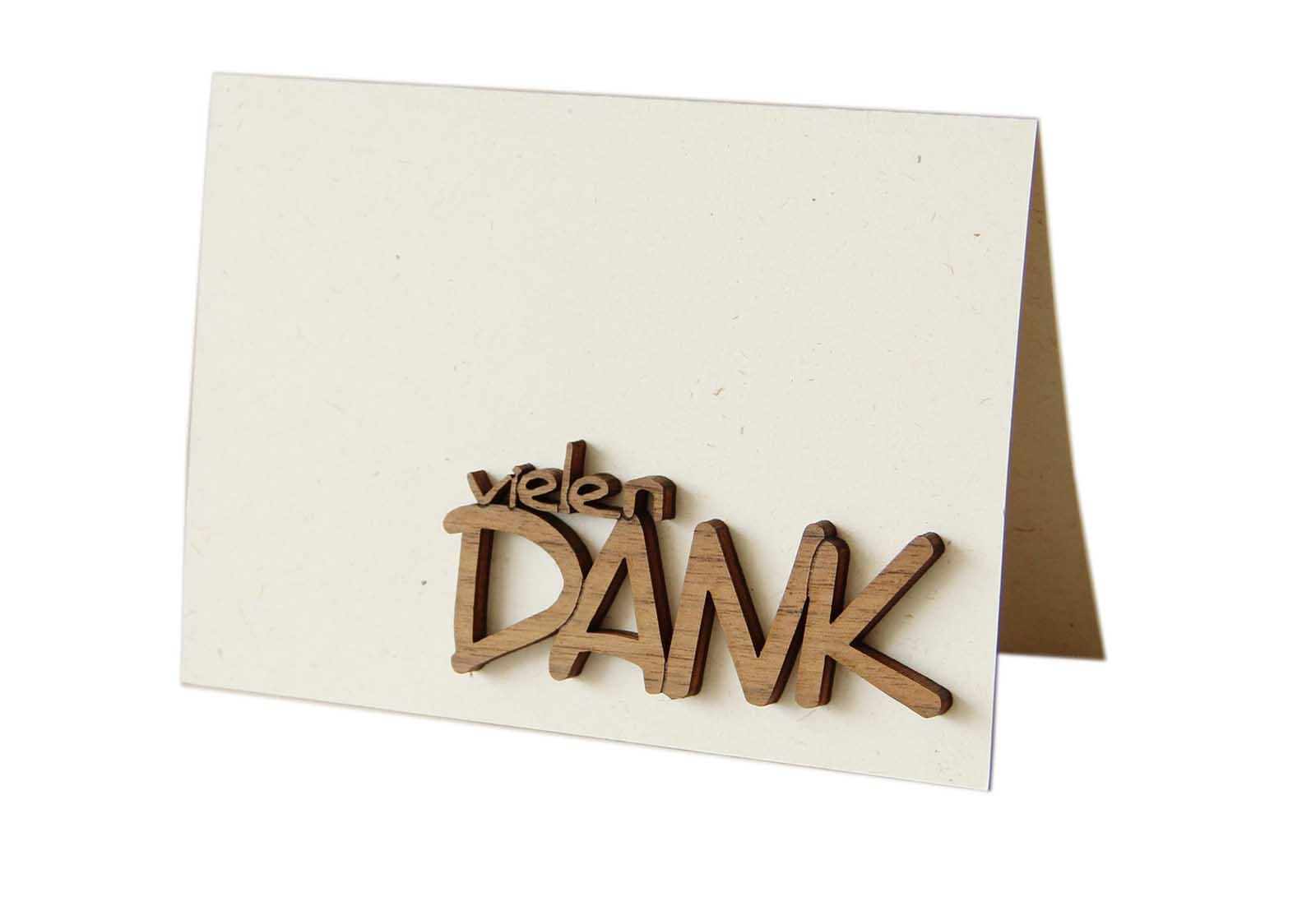 """Original Holzgrußkarte - Papierkarte mit Schriftzug aus Echtholz in Nuss """"vielen DANK"""", Postkarte, Geschenkkarte, Klappkarte, Karte, Gutscheinkarte"""