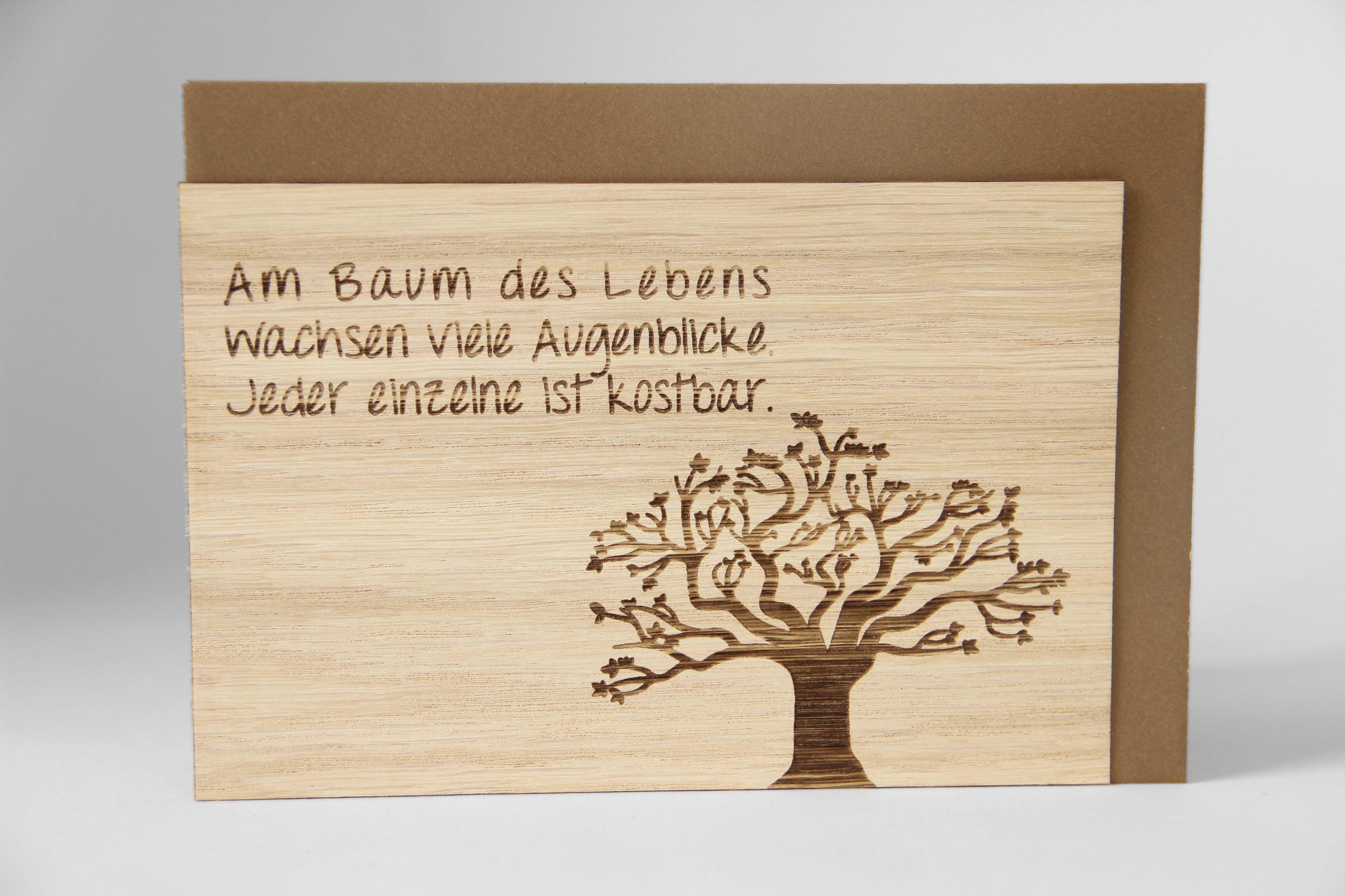 Original Holzgrußkarte - BAUM DES LEBENS - 100% handmade in Österreich, aus Eichenholz gefertigte Grußkarte, Geschenkkarte, Klappkarte, Postkarte