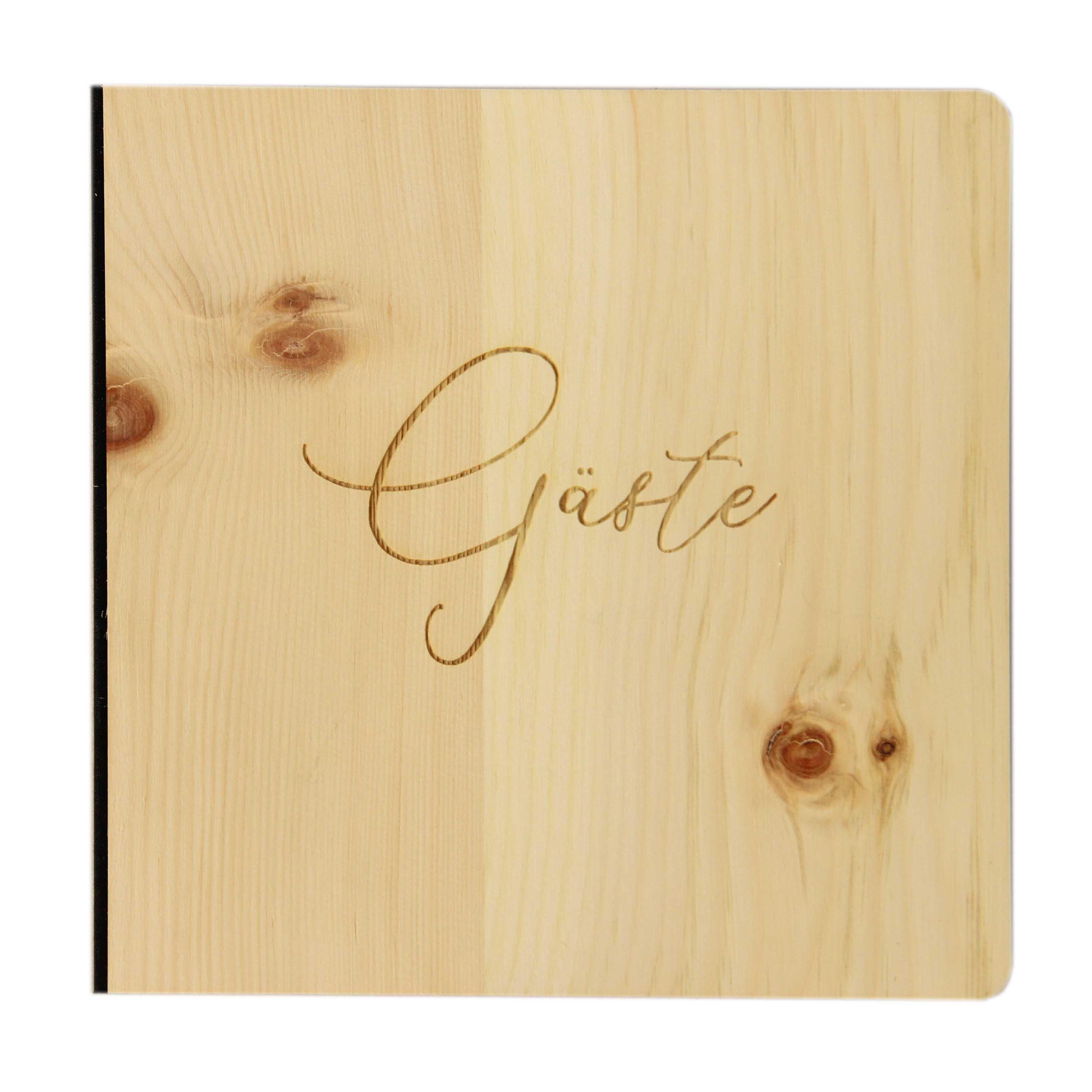 """Holz Gästebuch mit eingraviertem Schriftzug """"Gäste"""", Fotoalbum und Stammbuch für verschiedene Anlässe, bestehend aus Echtholz, Zirbenholzcover"""