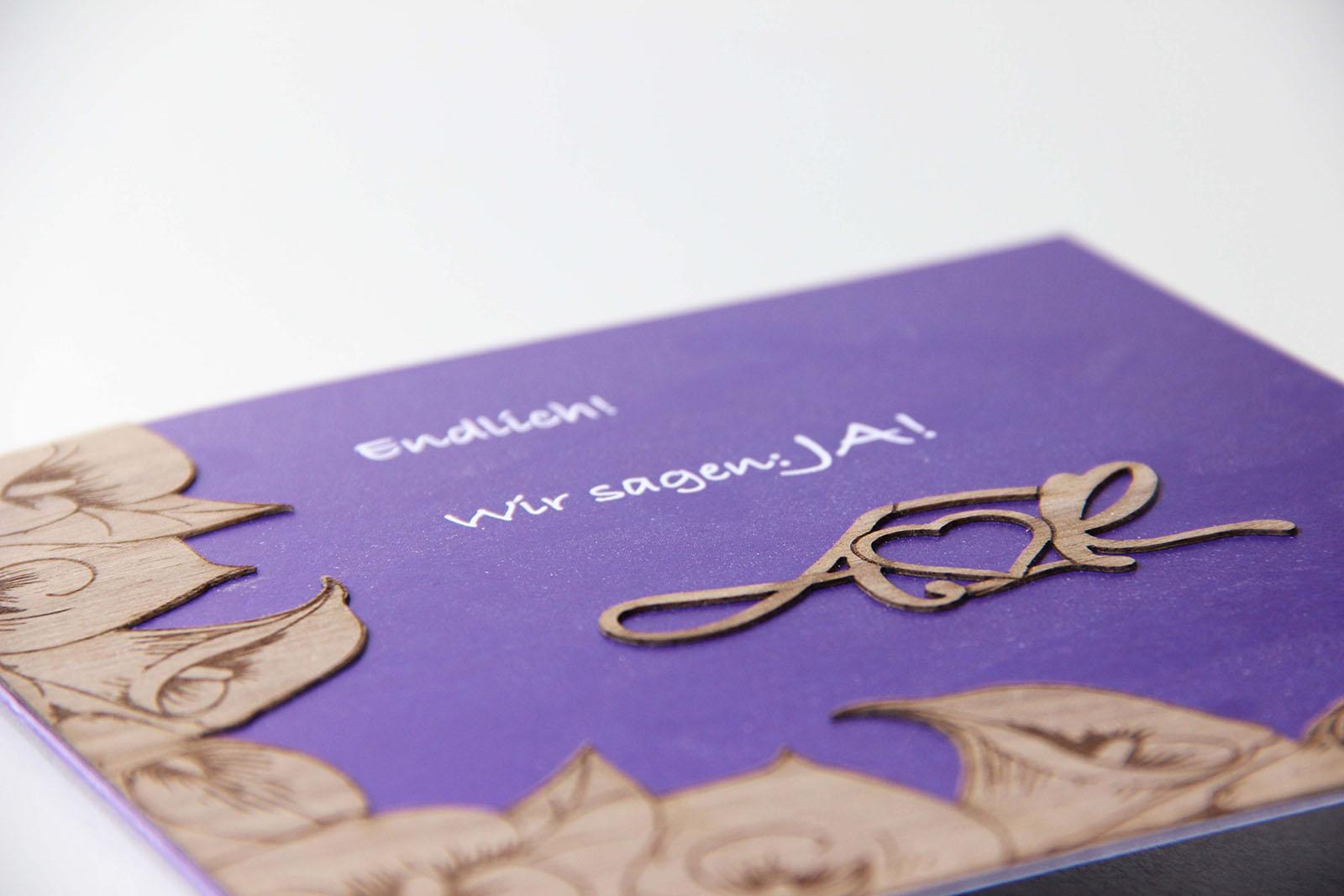 Holzgrusskarte - Einladung zur Hochzeit