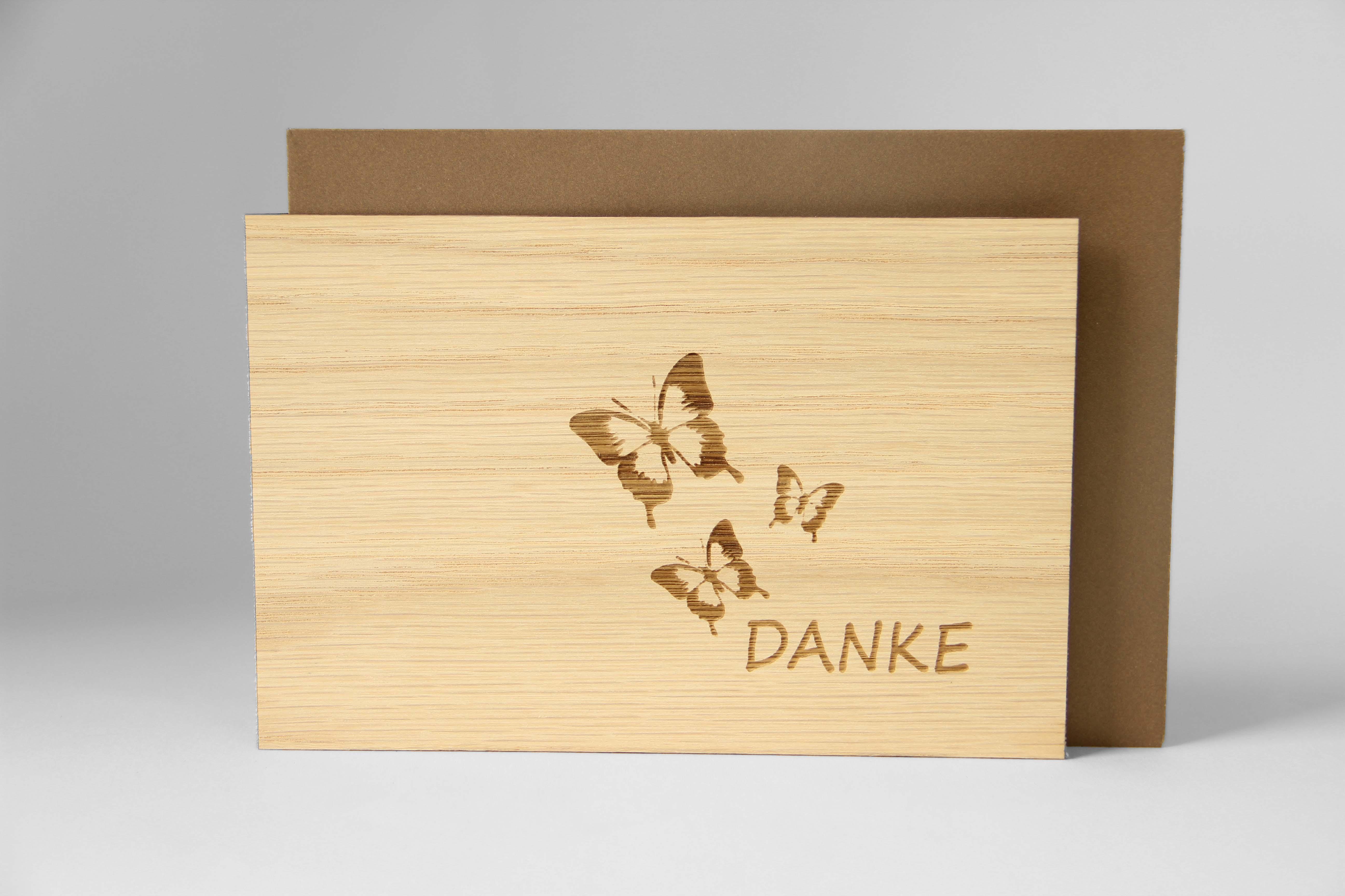 Original Holzgrußkarte - DANKE, Motiv Schmetterlinge- 100% handmade in Österreich, aus Eichenholz gefertigte Dankeskarte, Grußkarte, Klappkarte, Postkarte, Geburtstagskarte