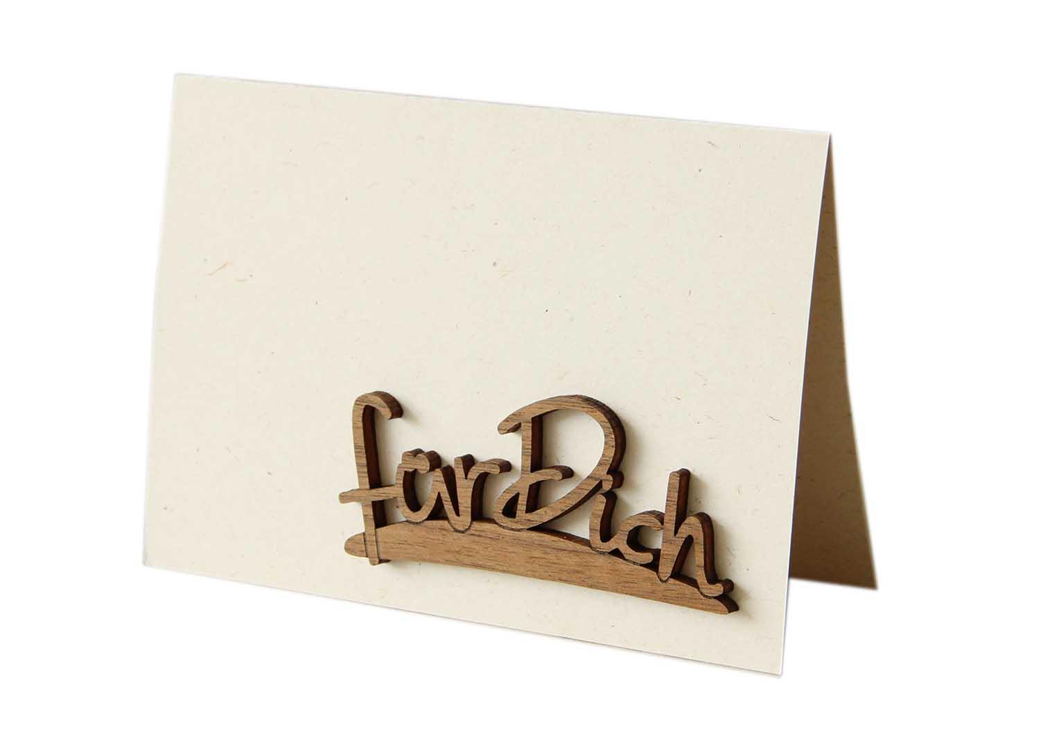 """Holzgrußkarte - Papierkarte mit Schriftzug aus Echtholz in Nuss """"für dich"""", Postkarte, Geschenkkarte, Klappkarte, Karte"""