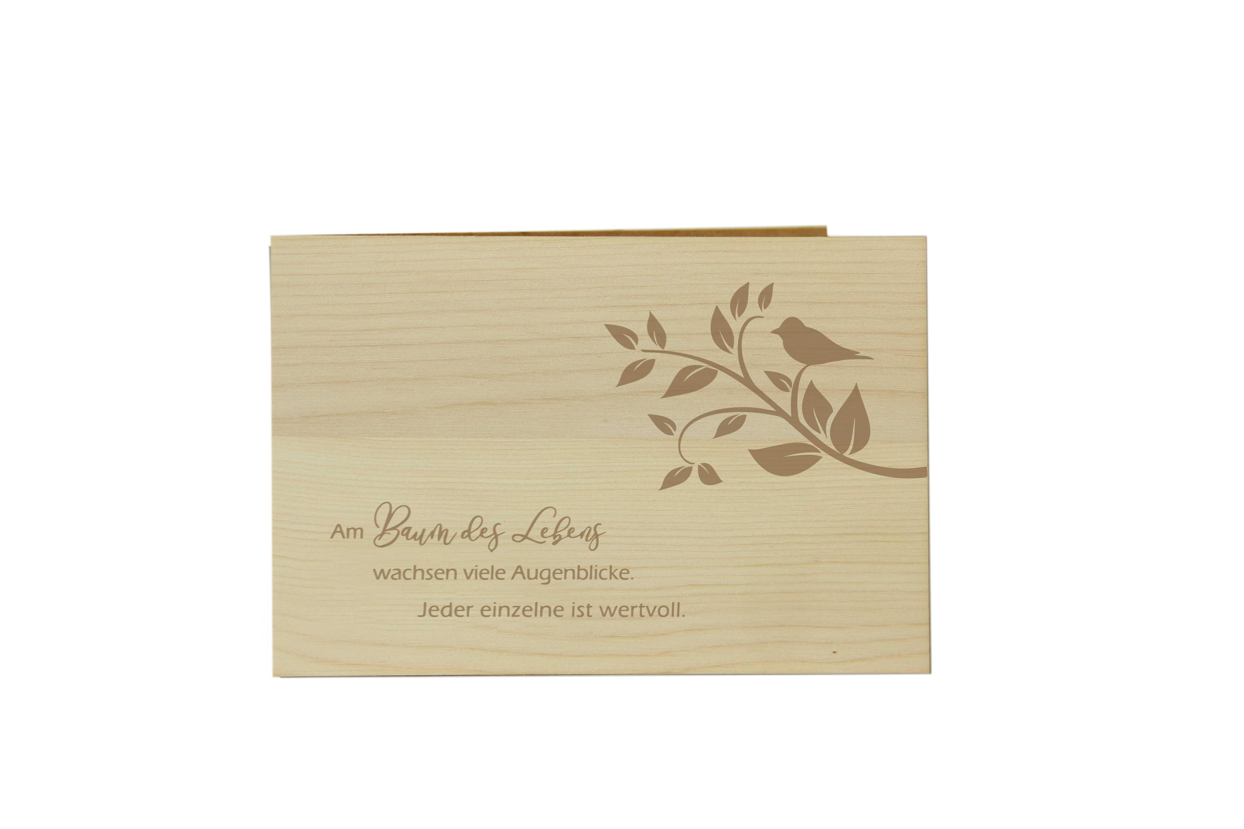 Original Holzgrußkarte - BAUM DES LEBENS, Motiv Ast - 100% handmade in Österreich, aus Zirbenholz gefertigte Geschenkkarte, Grußkarte, Klappkarte, Postkarte