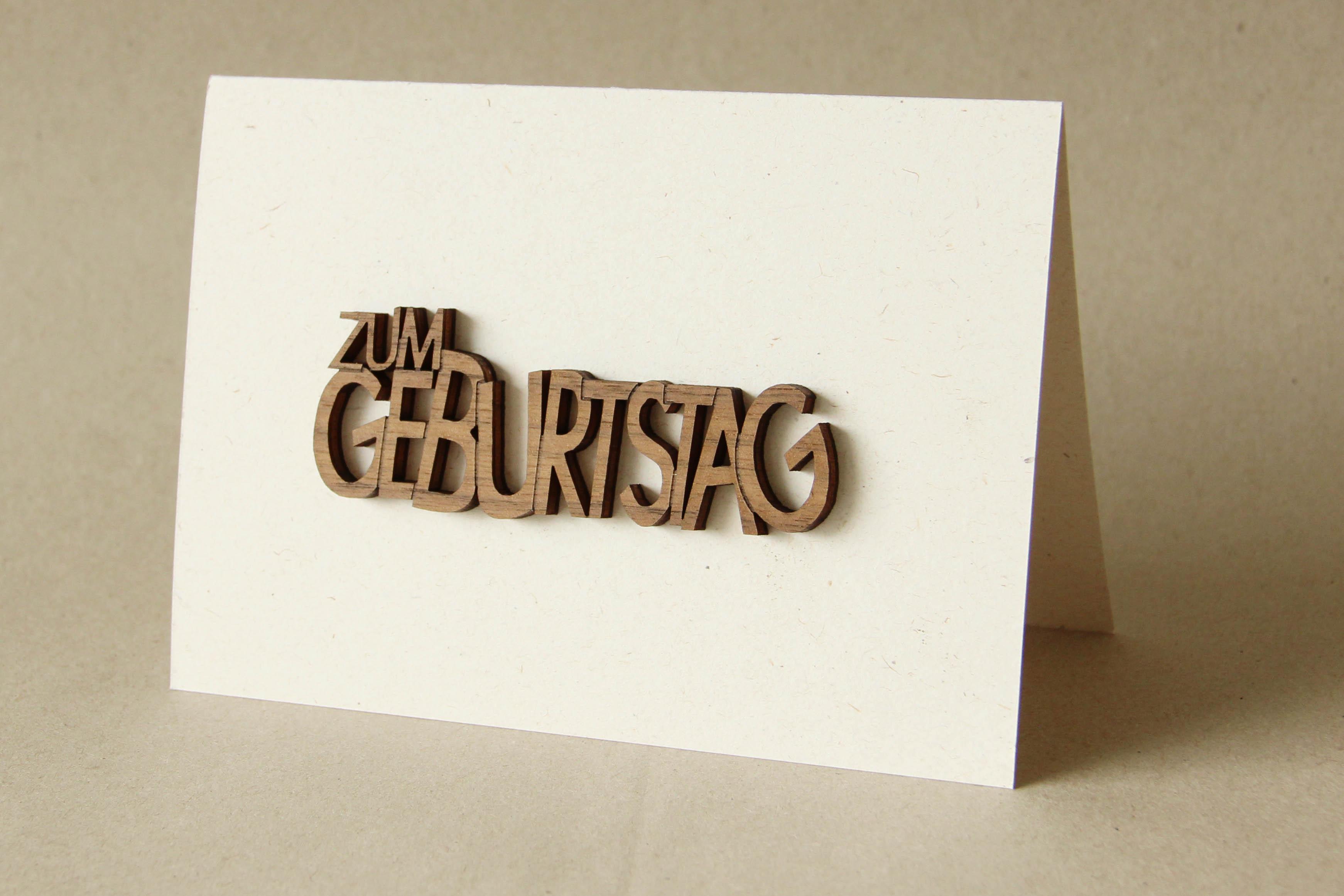 """Original Holzgrußkarte - Papierkarte mit Schriftzug aus Echtholz in Nuss """"Zum Geburtstag"""", Postkarte, Geschenkkarte, Klappkarte, Karte, Geburtstagskarte"""