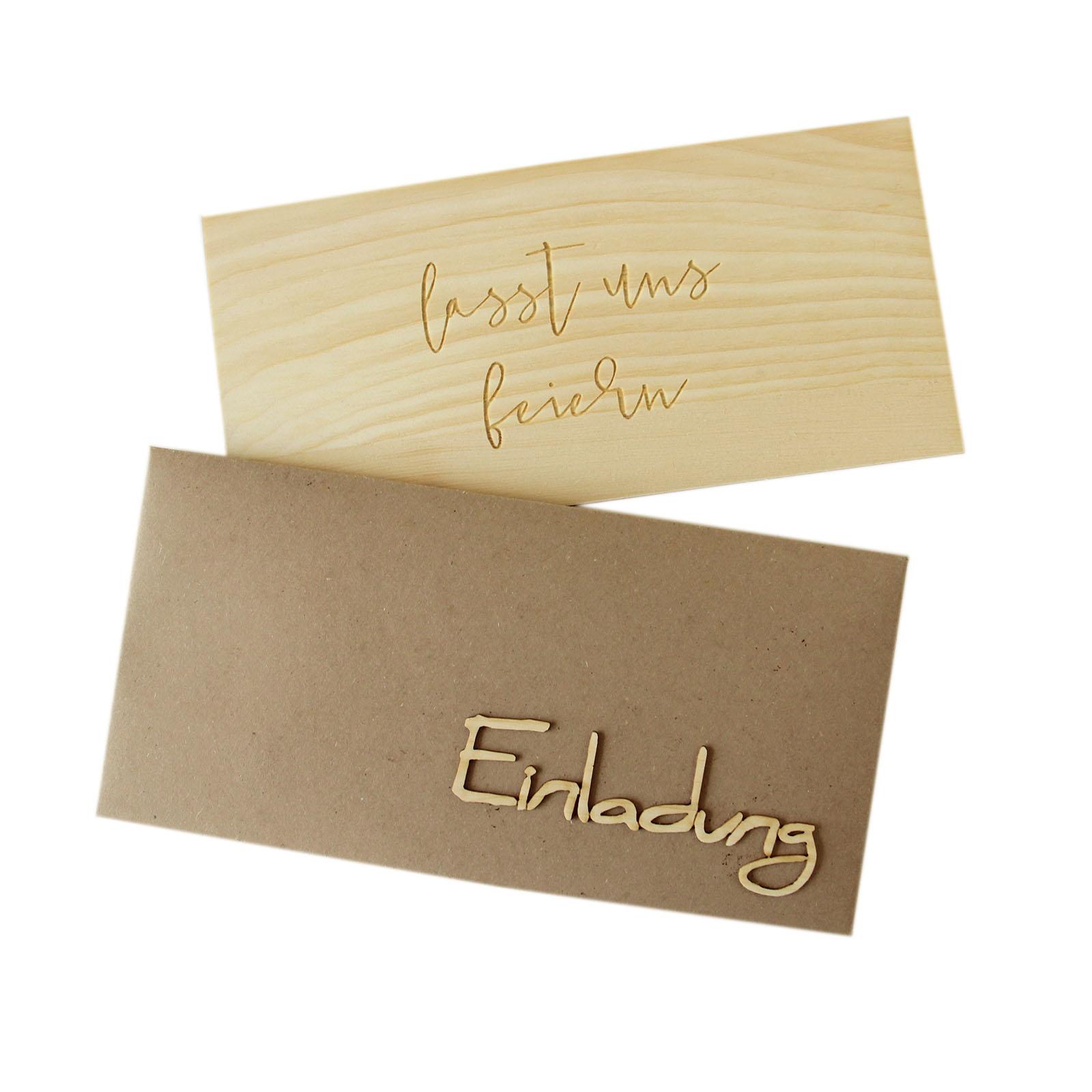Holzgrusskarte - Einladungskarte zur Hochzeit