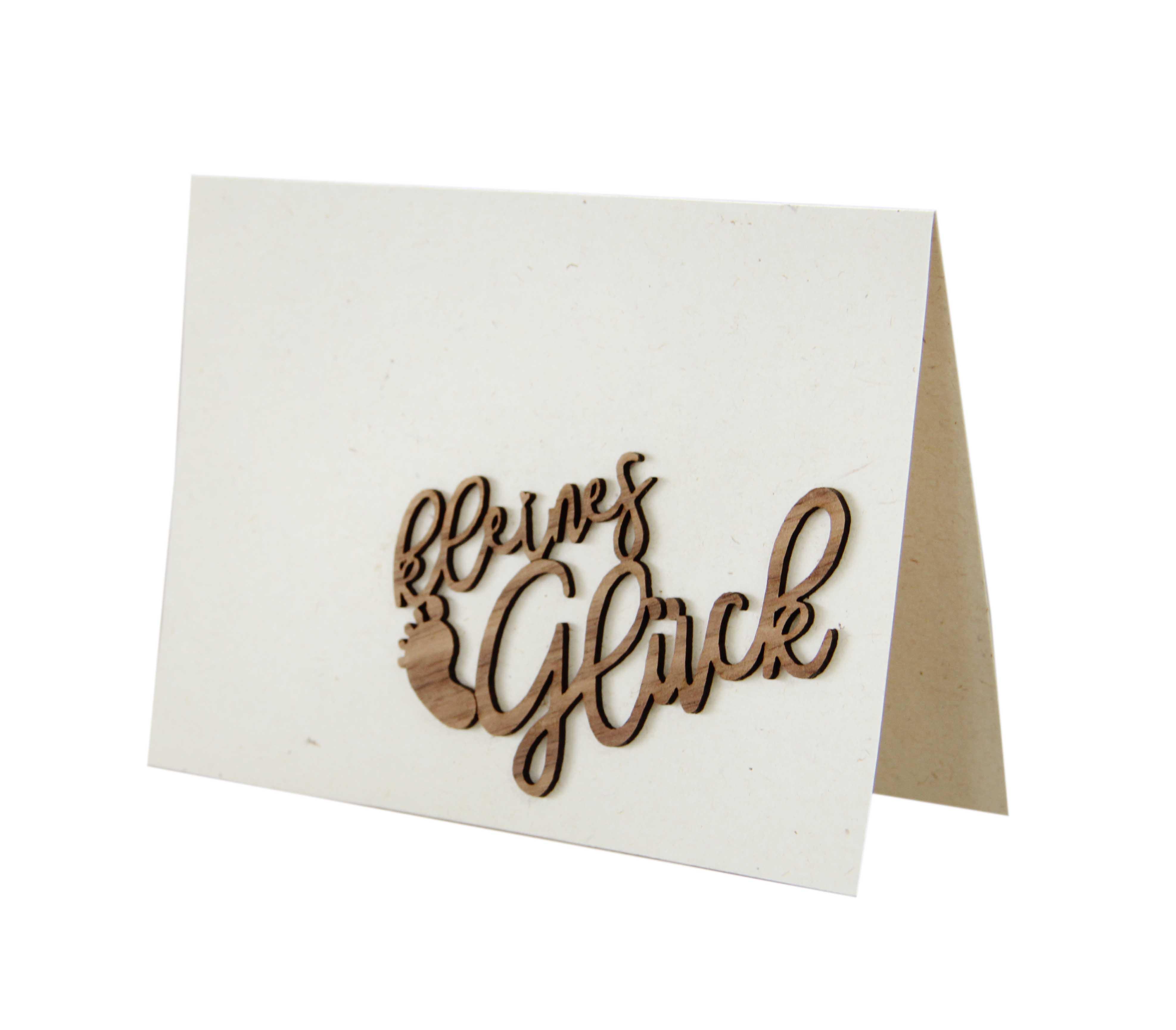 """Holzgrußkarte - Papierkarte mit Schriftzug aus Echtholz in Nuss """"kleines Glück"""", Postkarte, Geschenkkarte, Klappkarte, Karte, Geburt"""